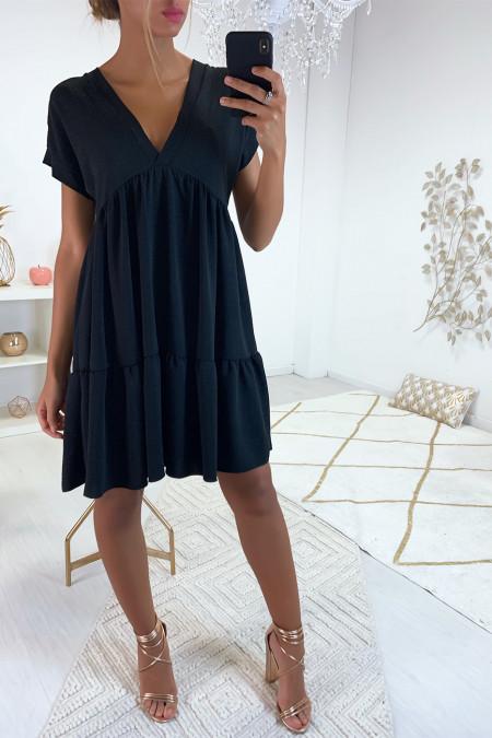 Magnifique robe tunique noir en col V avec volant