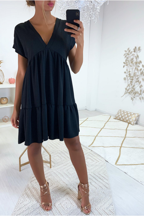 Beautiful Black V Neck Tunic Dress With Flounce