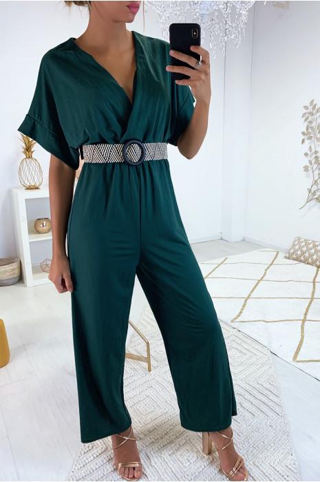 Jolie combinaison palazzo kaki croisé en haut avec jolie ceinture