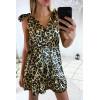 Magnifique robe croisé motif léopard avec noeud aux bretelles