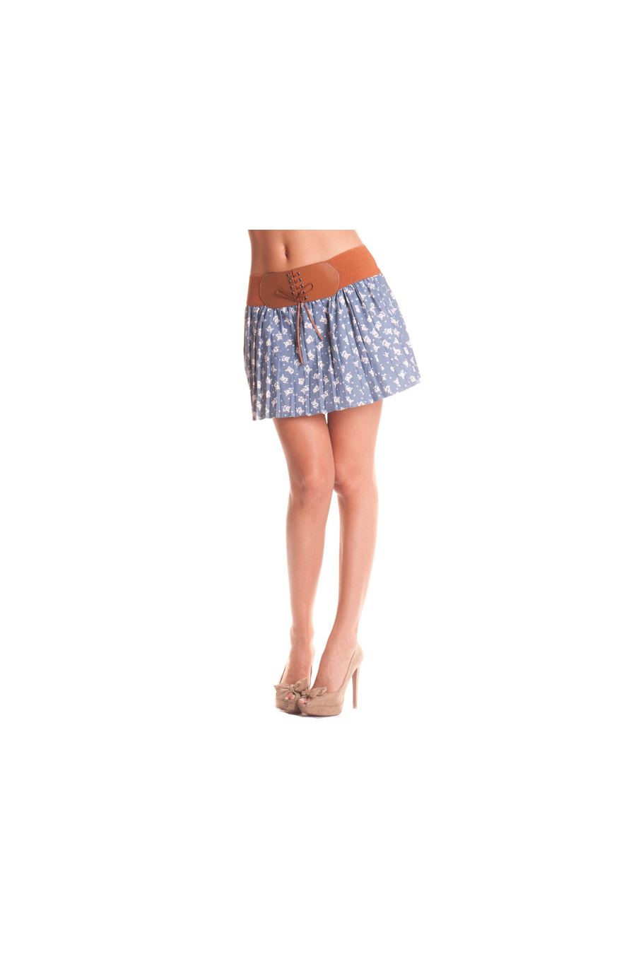 Short pleated skirt with integrated belt. Cheap women fashion