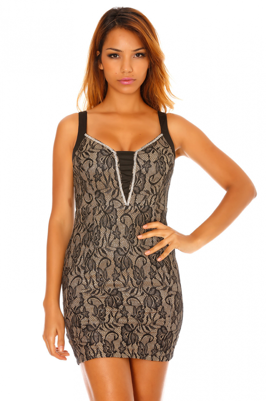 Bodycon black evening dress with gold background and black lace, rhinestones on the neckline. 5580