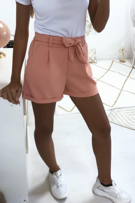 Roze short met ceintuur en elastische zakken aan de achterkant 1735
