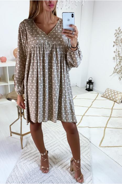 Jolie tunique ample en taupe avec de joli losange doré