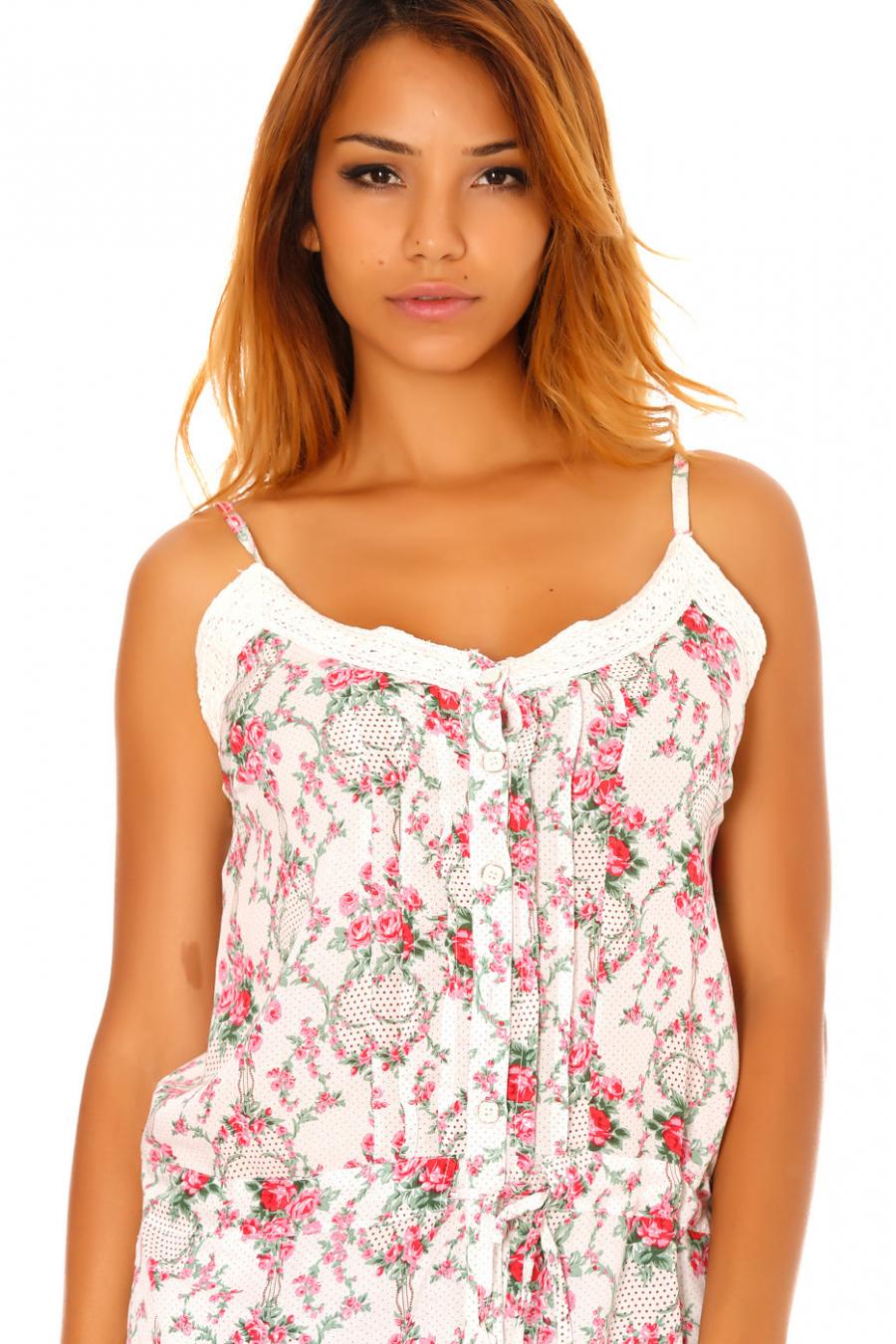 Tunique fines bretelles blanches à motif floral bordures dentelle. D3449