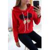Rode hoodie met mickey's hoofd met bril