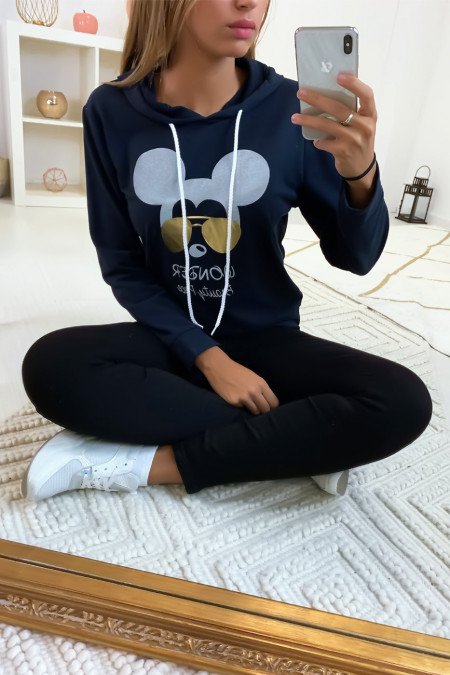 Navy hoodie with mickey's head with glasses