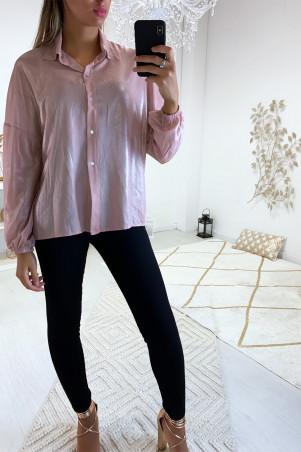 Beautiful evening shirt in pink in a beautiful shiny material
