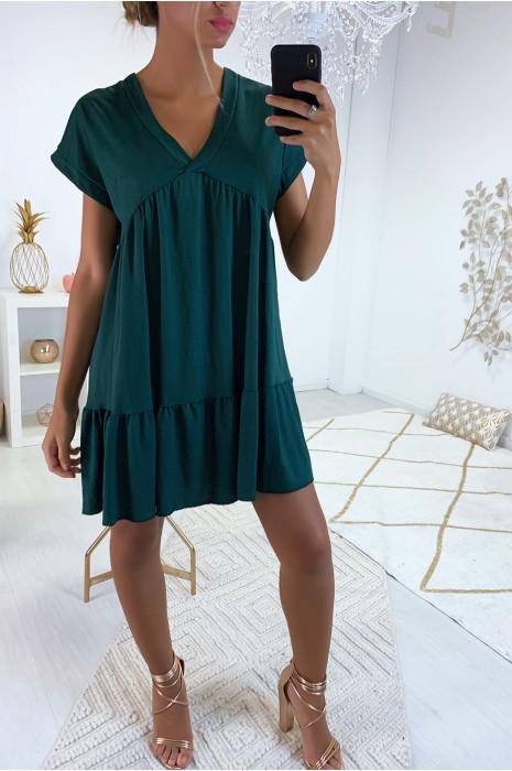 Magnifique robe tunique vert en col V avec volant