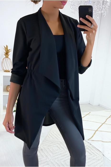 Longue veste blazer noir avec revers au col et élastique au dos
