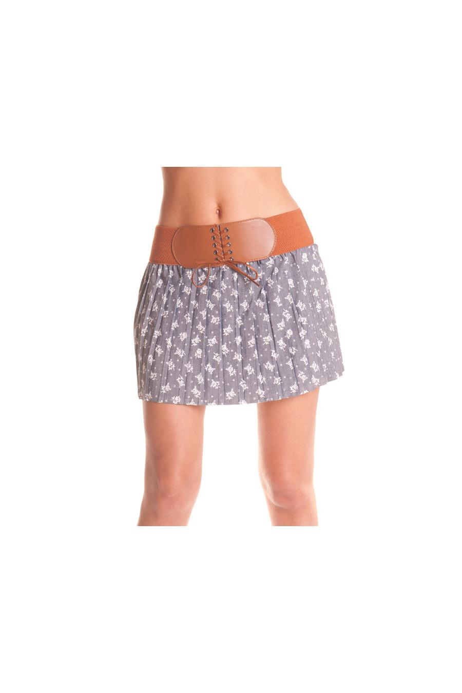 Jupe Courte plissé avec ceinture intégré. Mode femme pas cher