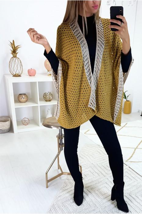 Magnifique gilet kimono moutarde avec contour dorée