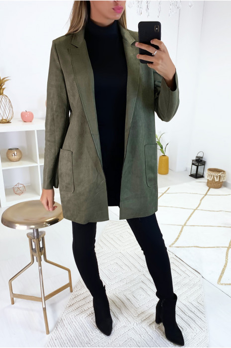 Sublime veste blazer kaki en suédine avec poche