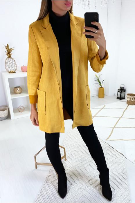 Sublime veste blazer moutarde en suédine avec poche