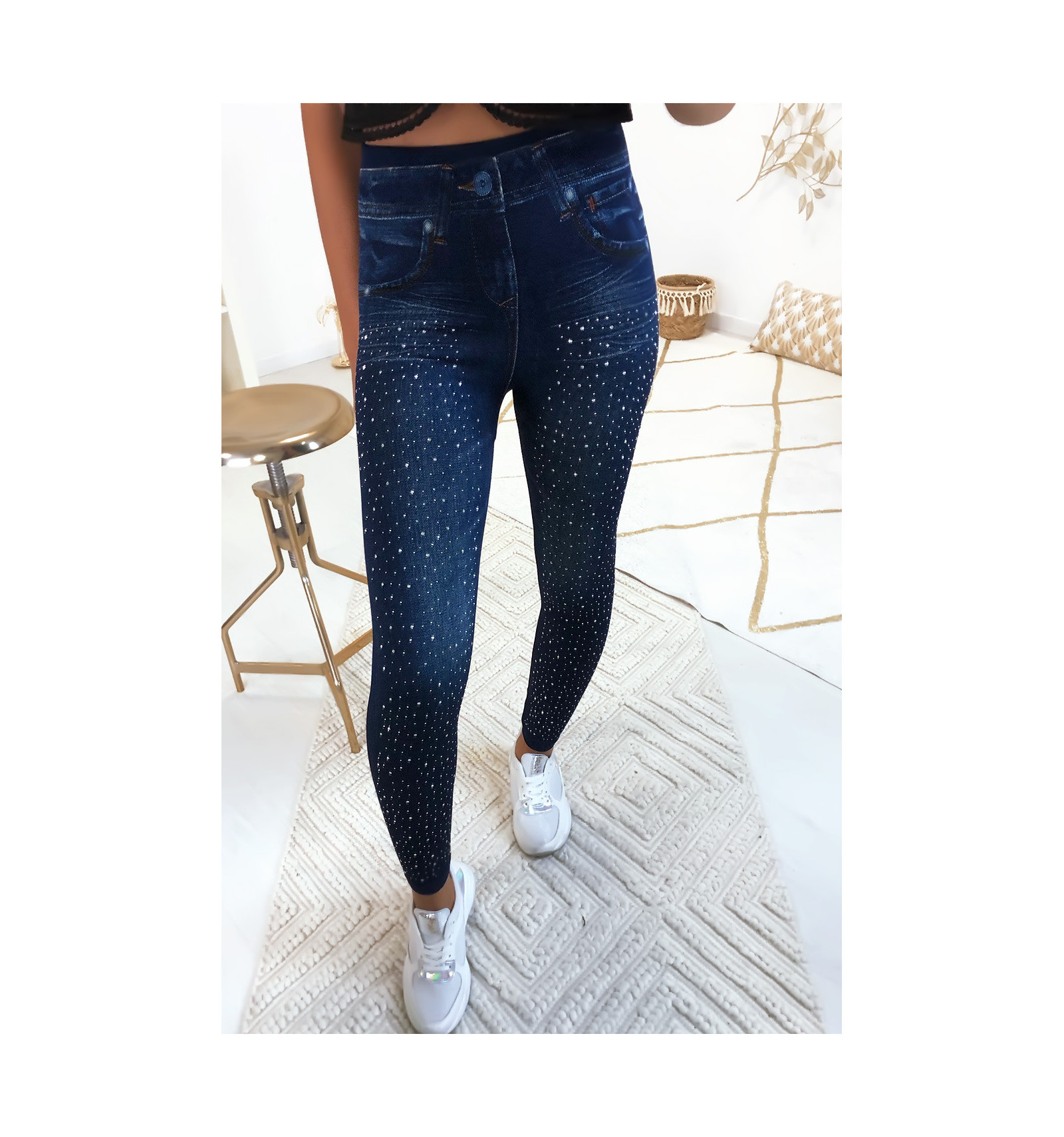 Legging effet jeans avec strass à l'avant