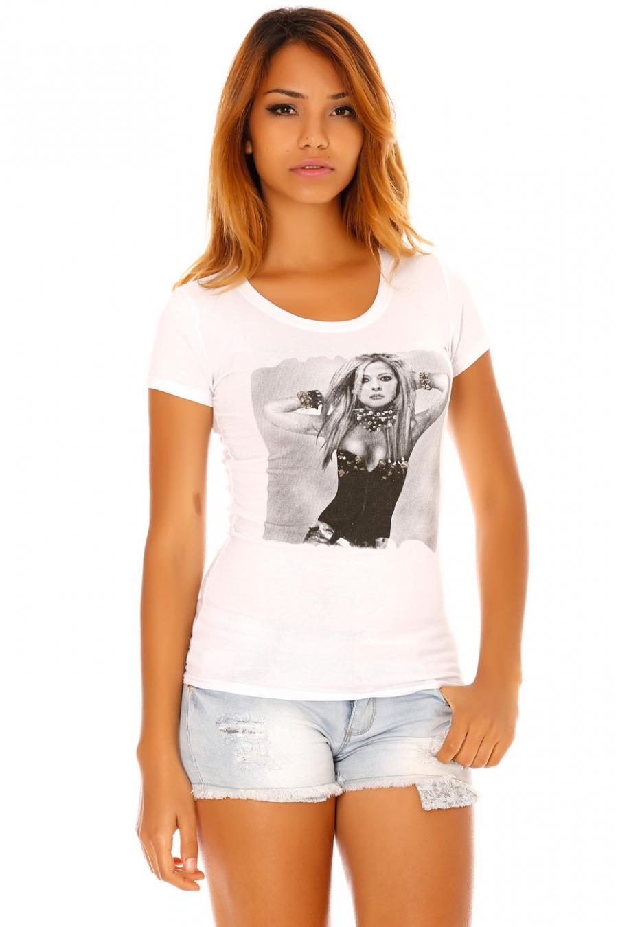 Wit T-shirt met fotoprint van Avril Lavigne met zilveren spikes. SW201224