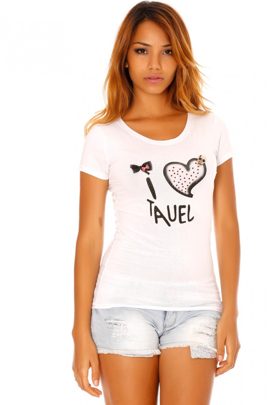 Tee shirt Blanc imprimé texte, strass coloré, noeud et tête de mort. SW201225