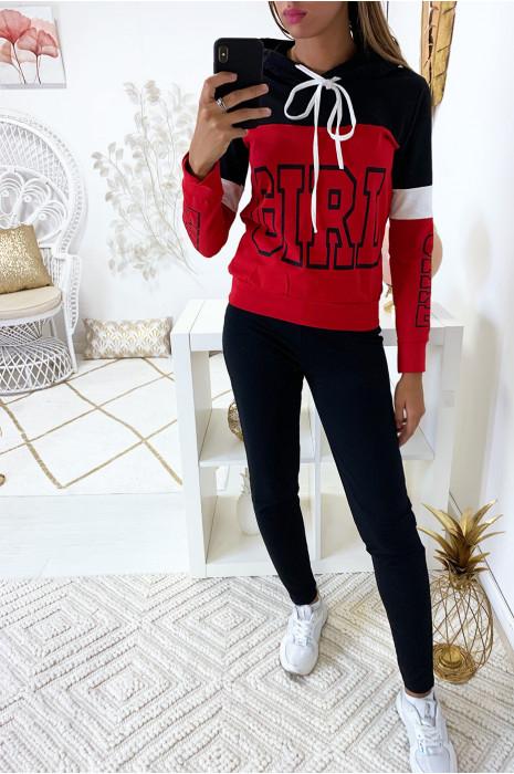 Sweat à capuche noir et rouge avec écriture girl à l'avant