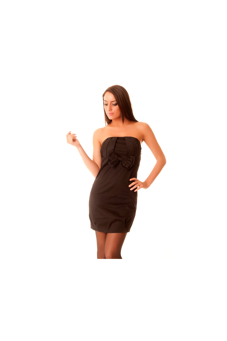 Fitted black dress with bow tie. 8290