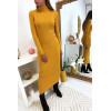 Longue robe pull côtelé en moutarde avec col roulé et manche longue