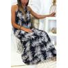 Longue robe très chic à motif fleuris marine et blanc