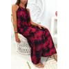 Longue robe très chic à motif fleuris marine et bordeaux
