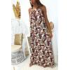 Longue robe beige avec un magnifique motif très tendance