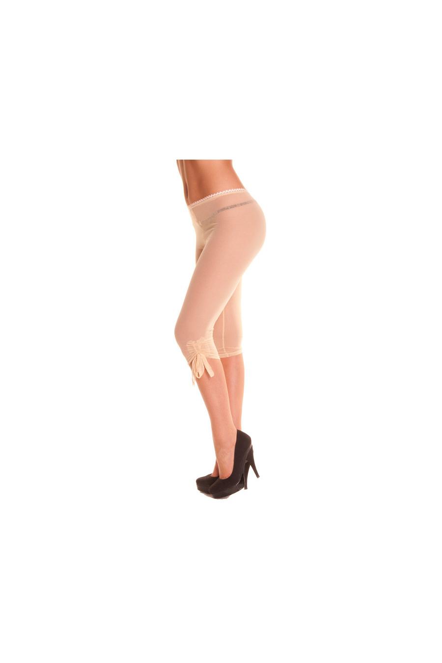 Transparante legging met knoop op de knieën.