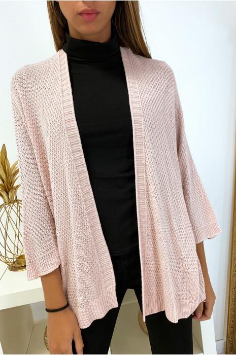 Joli gilet rose très tendance avec manche chauve souris