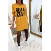Jolie robe tunique moutarde avec poche et écriture belle ciao