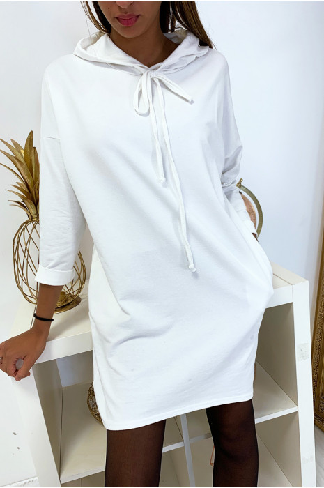 Long sweat à capuche blanc avec poche
