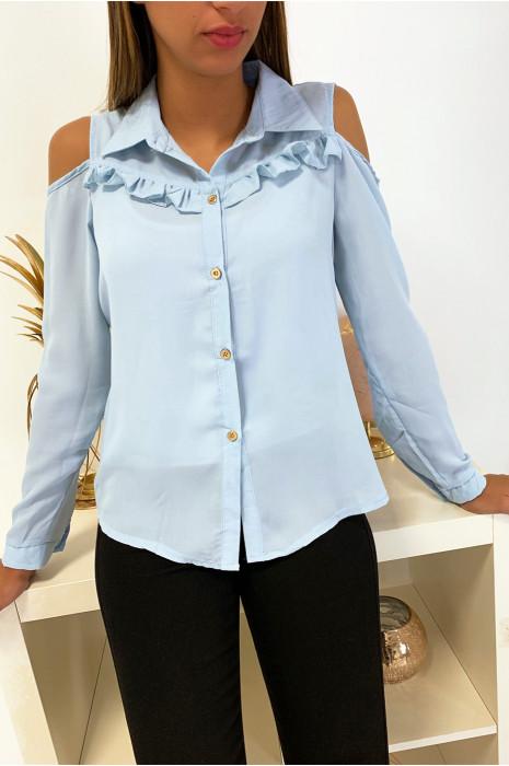 Jolie chemise bleu working girl avec épaules dénudé et froufrou eu buste