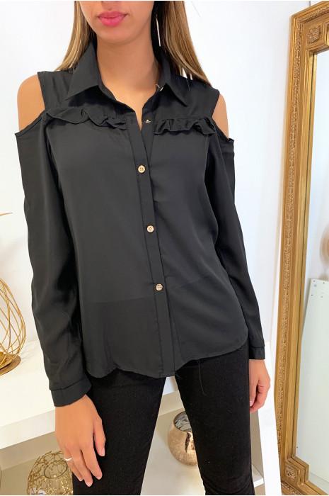 Jolie chemise noir working girl avec épaules dénudé et froufrou eu buste