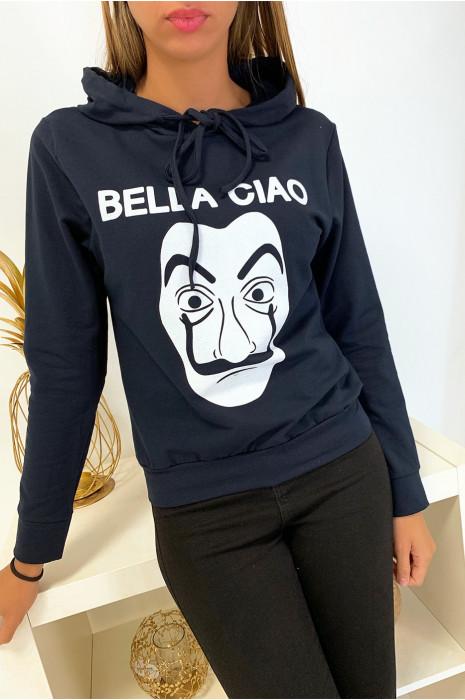 Sweat à capuche marine avec dessin et écriture bella ciao