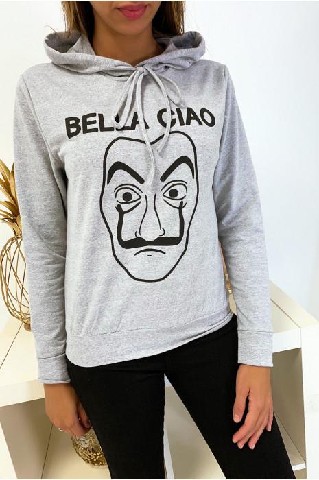 Sweat à capuche gris avec dessin et écriture bella ciao