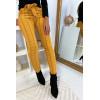 Pantalon slim moutarde motif carreaux avec poche et ceinture 6934