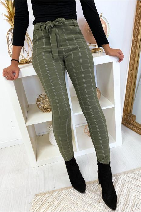 Pantalon slim kaki motif carreaux avec poche et ceinture 6934