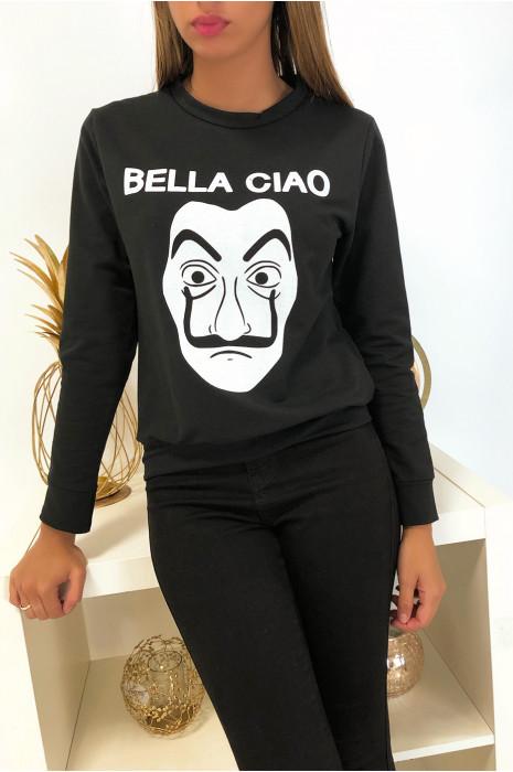 Sweat noir en coton avec masque et écriture balla ciao