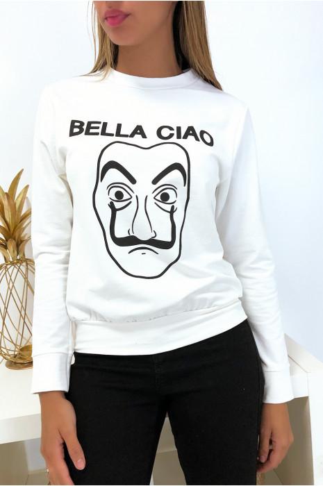 Sweat blanc en coton avec masque et écriture balla ciao