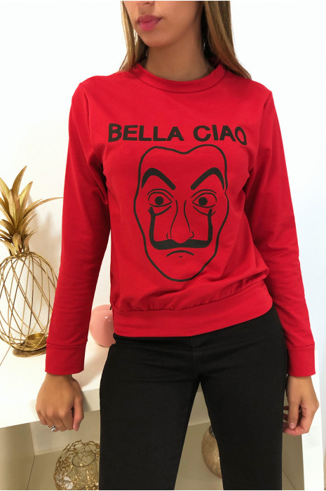 Sweat rouge en coton avec masque et écriture balla ciao