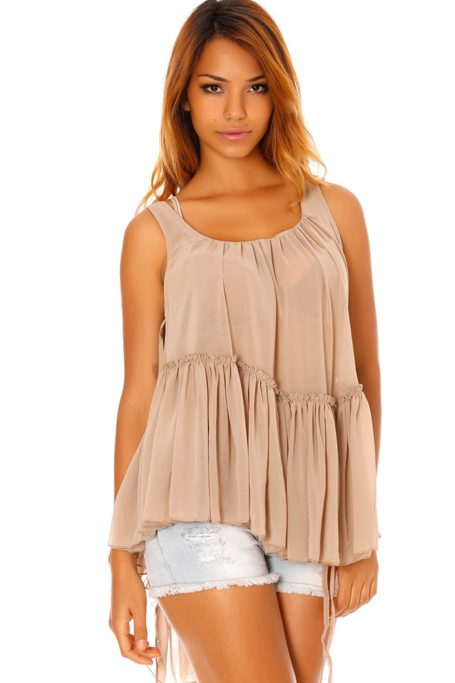 Top Taupe fluide transparent et asymétrique à volants. 1102