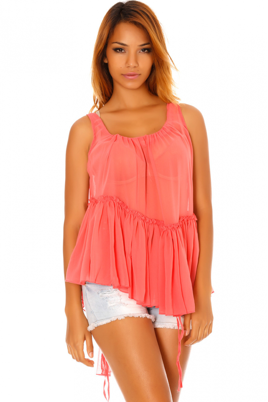 Transparent and asymmetric flowing fuchsia top with ruffles. 1102