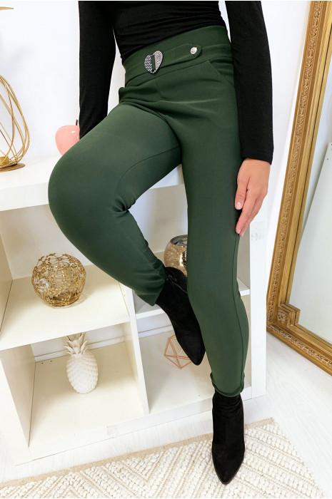 Pantalon slim kaki avec poche et ceinture coeur en strass 6991