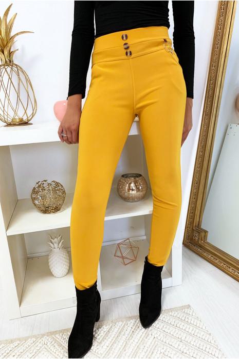 Pantalon slim moutarde en taille haute boutonné avec poche et accessoire. 6949