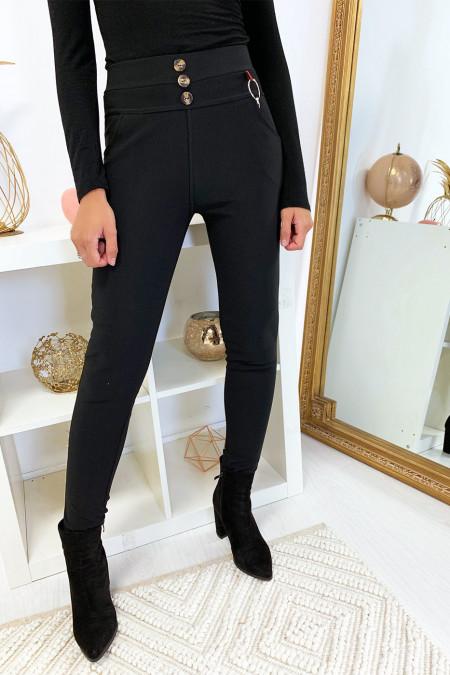 Pantalon slim noir en taille haute boutonné avec poche et accessoire. 6949