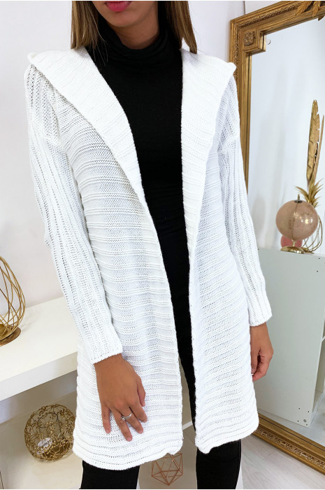 Jolie gilet blanc très tendance avec capuche et pompon