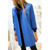 Belle veste bleu en suédine avec poche et col revers