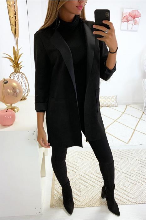 Belle veste noir en suédine avec poche et col revers