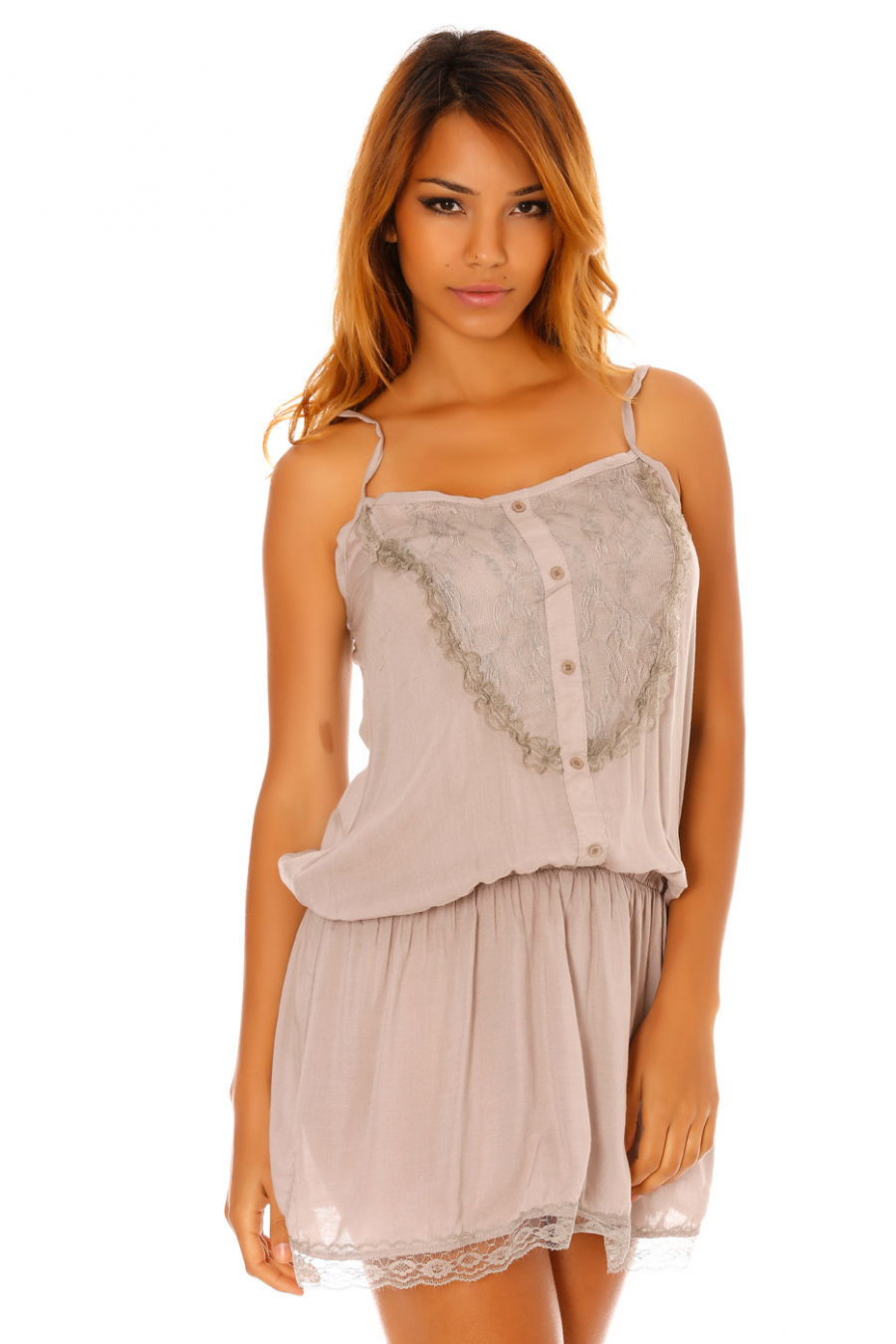 Long tunic with lace details. D1193