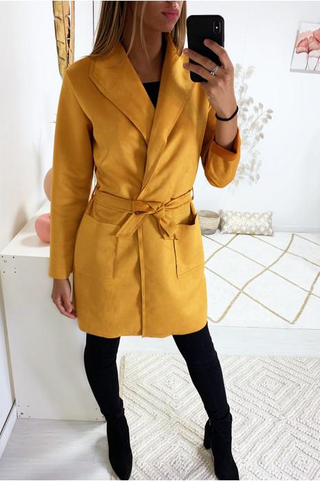 veste en suédine moutarde avec col revers